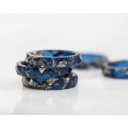Original Design Midnight Blue White Valentine's Day Lovers Couple Rings