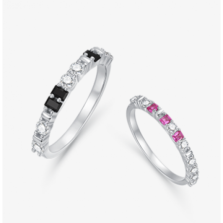 Morse Code Austria Crystal s925 Sterling Silver Lovers Couple Rings