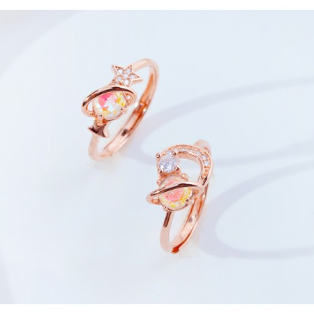 Dream Planet Stereoscopic Rose Gold Color Sterling Silver Ladies' Adjustable Rings