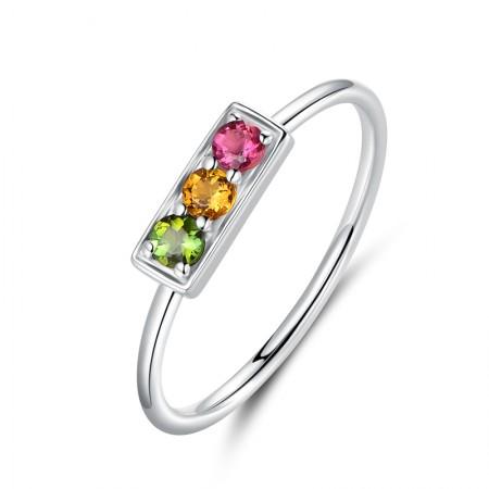 Traffic Light Design Natural Tourmaline Sterling Silver Ladies' Ring