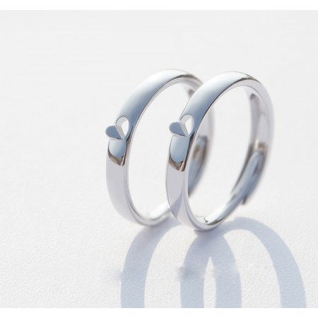 Open Heart Window s925 Sterling Silver Lovers Adjustable Rings