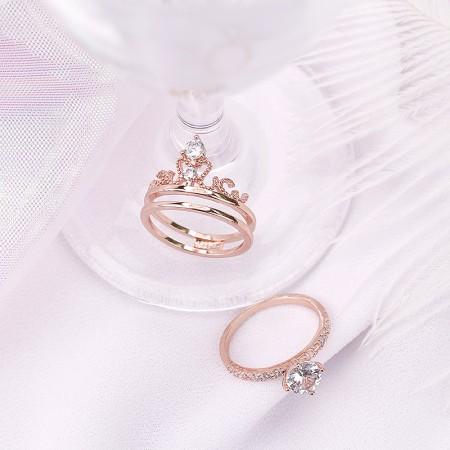 Chic Rose Gold Color Titanium Steel Crown Ladies' Adjustable Ring Sets