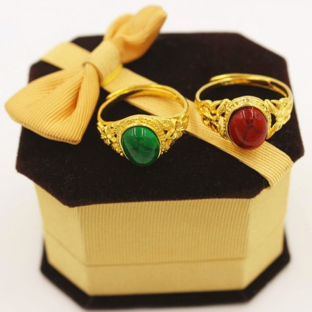 Euro Currency Gold Plated Turquoise Lovers Adjustable Couple Rings