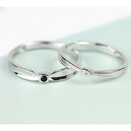 Bow Tie Design s925 Sterling Silver Lovers Adjustable Couple Rings