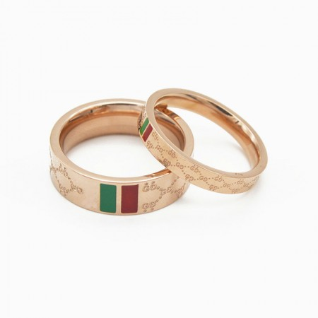 Red And Green Bars Rose Gold Color Titanium Steel Lovers Couple Rings