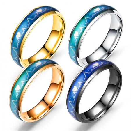 Heat Discoloration Heartbeat Titanium Steel Rings