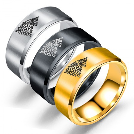 Personalized Ice Wolf Titanium Steel Man's Ring