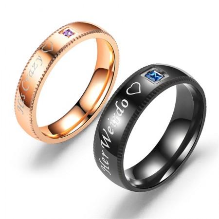 His Crazy Her Weirdo Titanium Steel Lovers Couple Rings