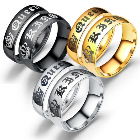 Retro Crown King And Queen Titanium Steel Lovers Couple Rings