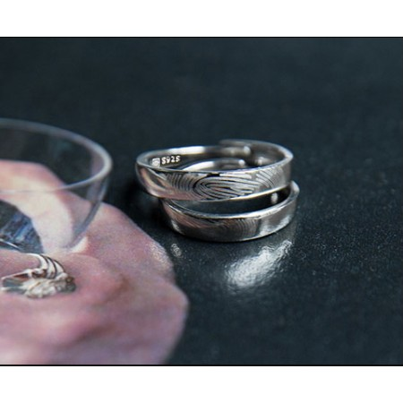 Fingerprint Contract s925 Sterling Silver Lovers Adjustable Couple Rings
