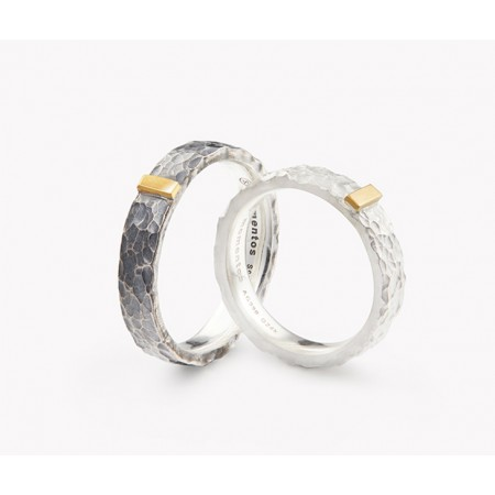 Footprints Of Time s925 Sterling Silver And 24k Gold Lovers Couple Rings