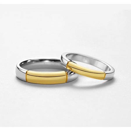 We Are Together s925 Sterling Silver And 18k Gold Lovers Couple Rings