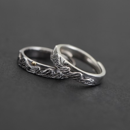 Continuous Green Hills s925 Sterling Silver Lovers Adjustable Couple Rings