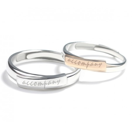 Love Is Company s925 Sterling Silver Lovers Adjustable Couple Rings
