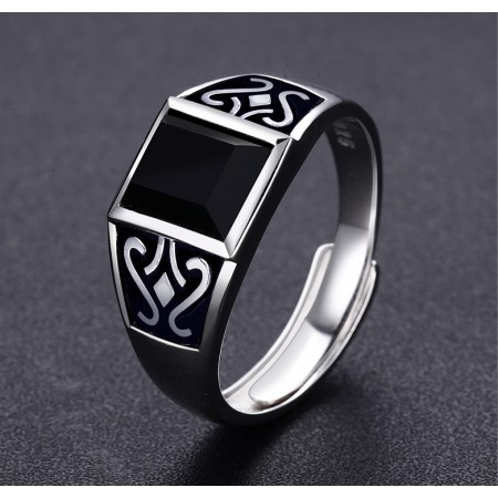 Obsidian Mysterious Totem s925 Sterling Silver Men' s Ring