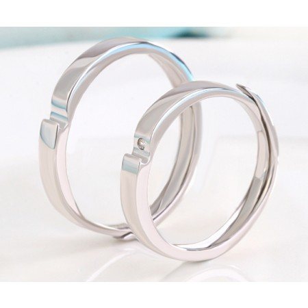 A Heart Loving You s925 Sterling Silver Lovers Adjustable Couple Rings