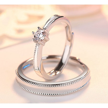 Everlasting Love s925 Sterling Silver Lovers Adjustable Rings With a White Edging