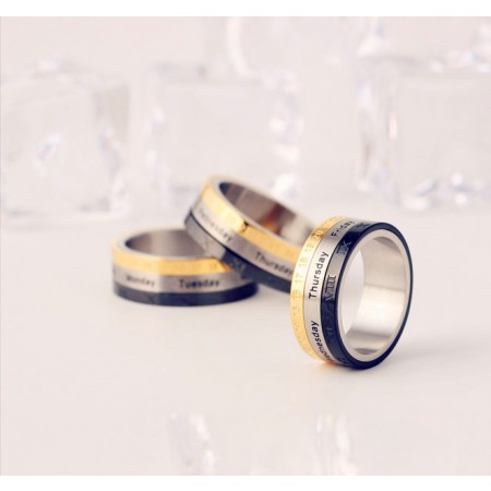 Fashionable Rotatable Date Engraved Titanium Steel Man's Ring
