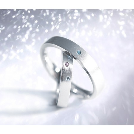 Twinkling Star Natural Diamonds Crystal s925 Sterling Silver Lovers Couple Ring