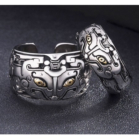 Retro Mythical Animals Engraved Lovers Adjustable Couple Rings