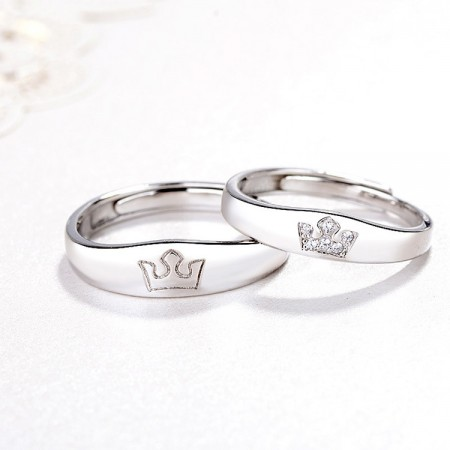 Princess And Prince Crown Design s925 Sterling Silver Lovers Adjustable Couple Rings