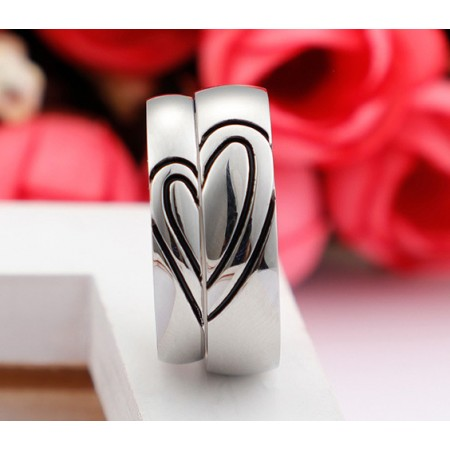 Special Heart-Shaped 316L Titanium Steel Lovers Couple Rings
