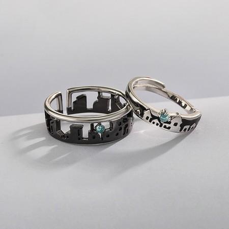 Unique Design Black 925 Sterling Silver Adjustable Size Promise Ring for Couples (Price for a Pair)