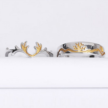 Adjustable S925 Sterling Silver Deer Antlers Couple Rings