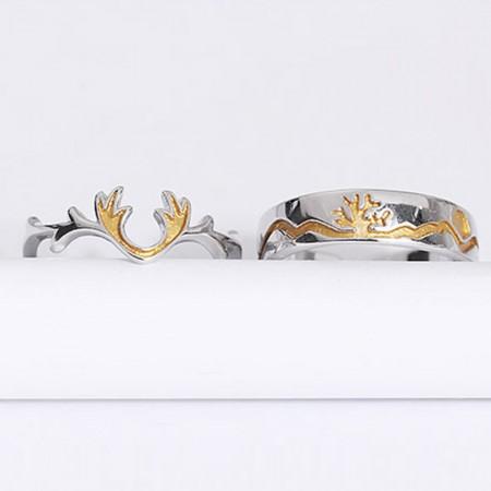 Adjustable S925 Sterling Silver Deer Antlers Couple Rings