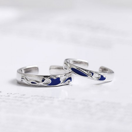 Unique Deep Sea Blue S925 Sterling Silver Couple Rings