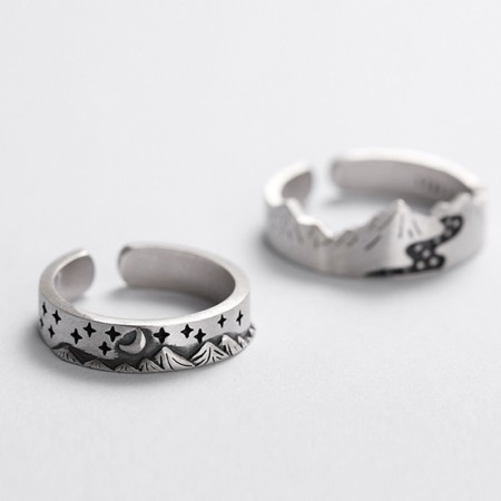 Mountain & River/Moon & Star S925 Sterling Silver Opening Lovers Rings