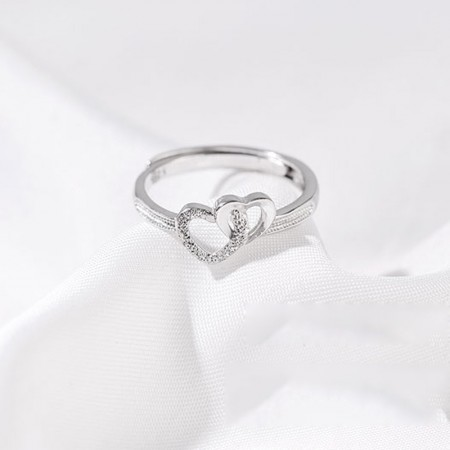 Lovely Sterling Silver Ladies Double Heart Ring