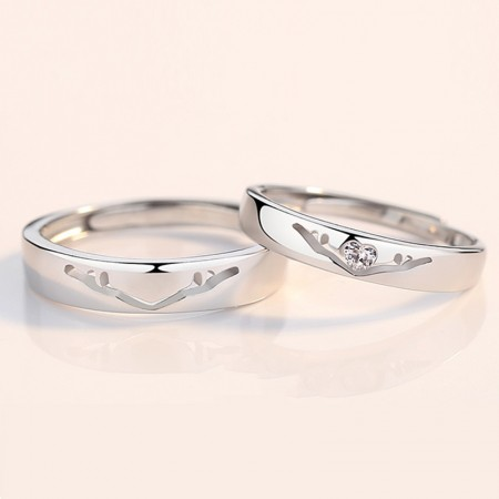 S925 Silver Exclusive Antlers Opening Lovers Rings