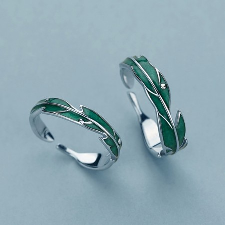 Stylish 925 Sterling Silver Banana Leaf Adjustable Lovers Rings