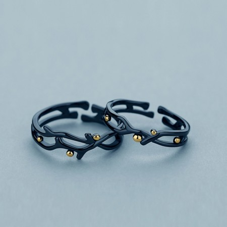 Designed Black Branch 925 Silver Adjustable Lovers Rings
