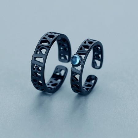 Moonlight and Forest S925 Silver Opening Lovers Couple Rings