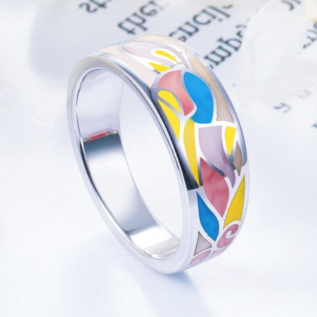 New Arrival Colorful Sterling Silver Enamel Women Ring
