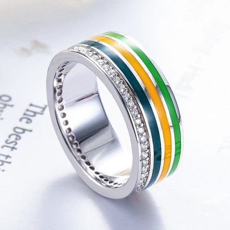 Fashion Design Sterling Silver Enamel Wide Band Ring For Women