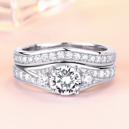 Round Cut White Gold Plated Engagement Bridal Ring Set