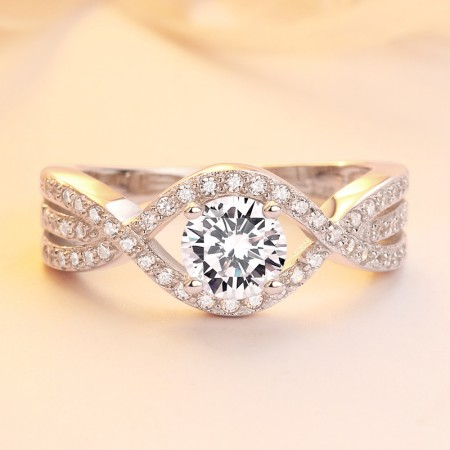 Infinity 925 Sterling Silver Cubic Zirconia Engagement Ring Set