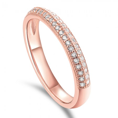 Classic Rose Gold / Silver White Sapphire Sterling Silver Wedding Band