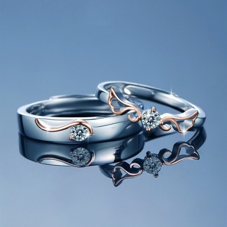 Engravable Guardian Angel Matching Promise Rings For Couples In Sterling Silver