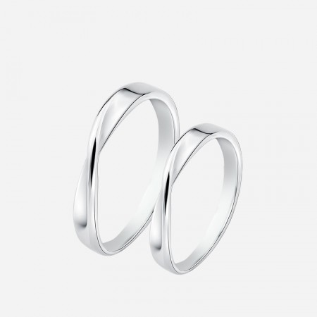 Engravable Infinity Matching Couple Promise Rings In Sterling Silver