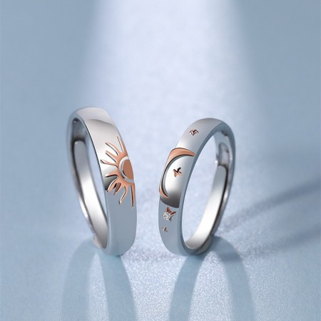 Adjustable Sun And Moon Matching Promise Rings For Couples In Sterling Silver
