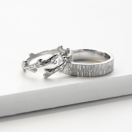 Adjustable The Forest of Love Matching Promise Rings For Couples In Sterling Silver