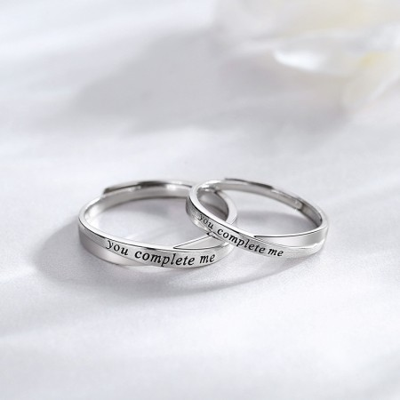 Adjustable You Complete Me Matching Promise Rings For Couples In Sterling Silver