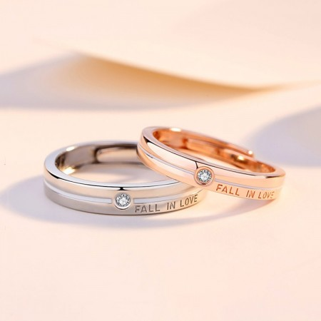 Adjustable Fall In Love Matching Promise Rings For Couples In Sterling Silver
