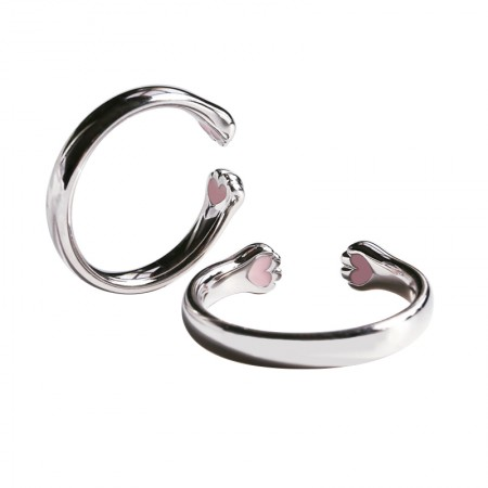 Engravable Cute Matching Cat Paw Couple Rings In Sterling Silver