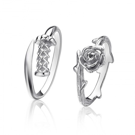 Personalized Sword And Rose Promise Rings For Couples In Sterling Silver