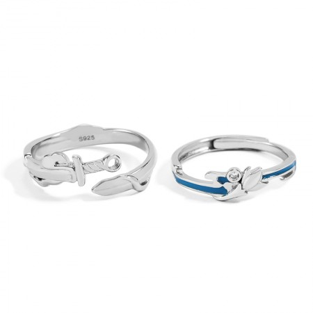 Personalized Heroes And Beauties Promise Rings For Couples In Sterling Silver